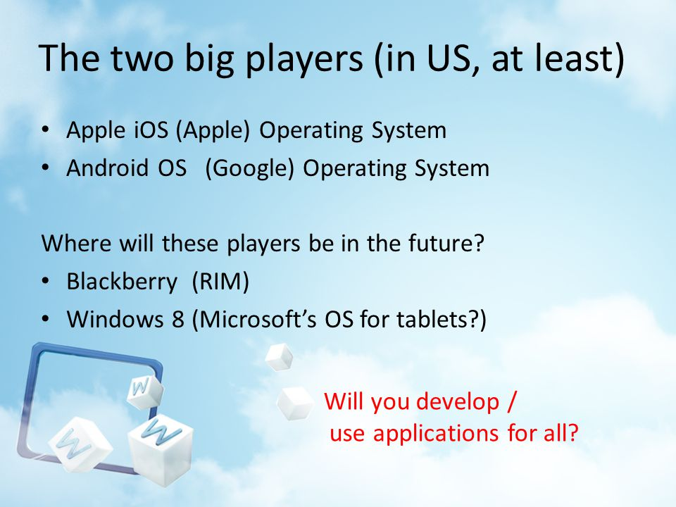 The two big players (in US, at least) Apple iOS (Apple) Operating System Android OS (Google) Operating System Where will these players be in the future.