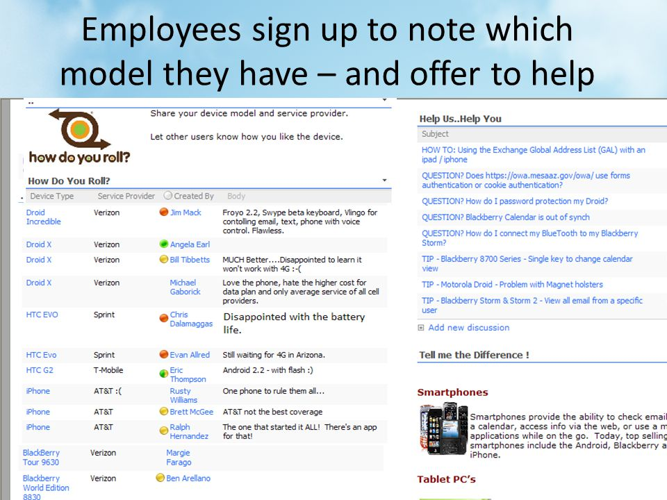 Employees sign up to note which model they have – and offer to help