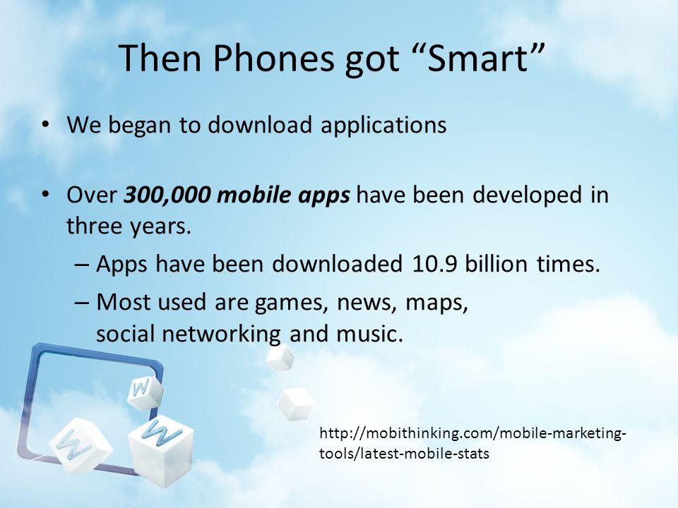 Then Phones got Smart We began to download applications Over 300,000 mobile apps have been developed in three years. – Apps have been downloaded 10.9