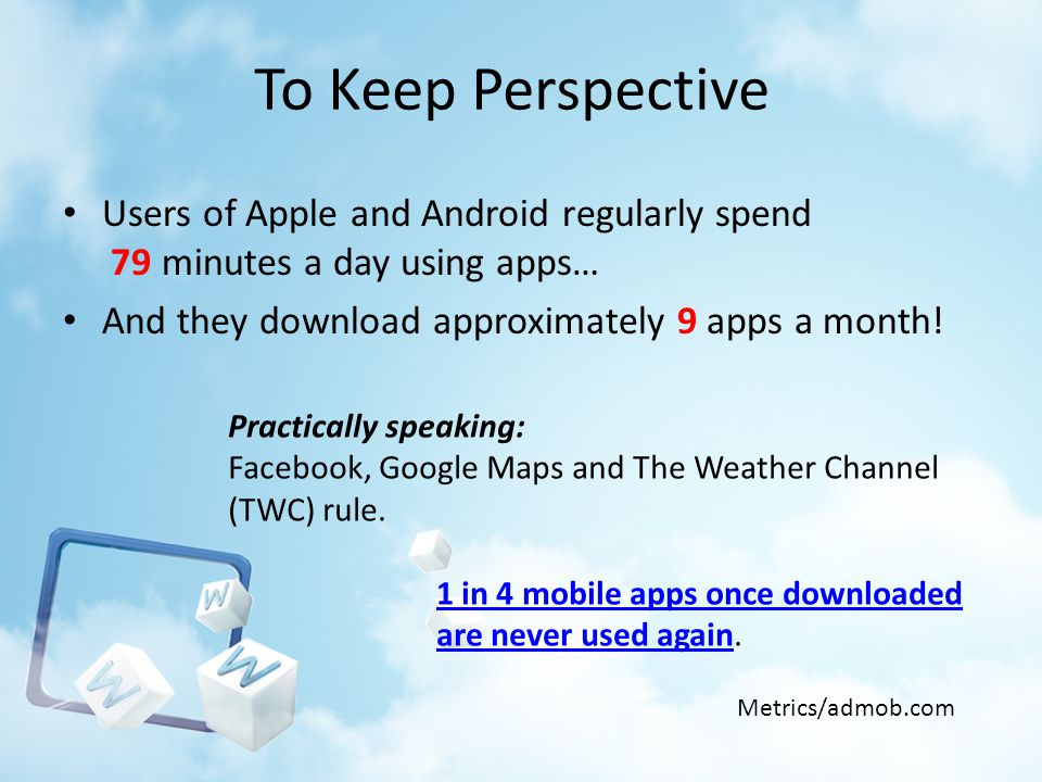 To Keep Perspective Users of Apple and Android regularly spend 79 minutes a day using apps… And they download approximately 9 apps a month! Metrics/ad