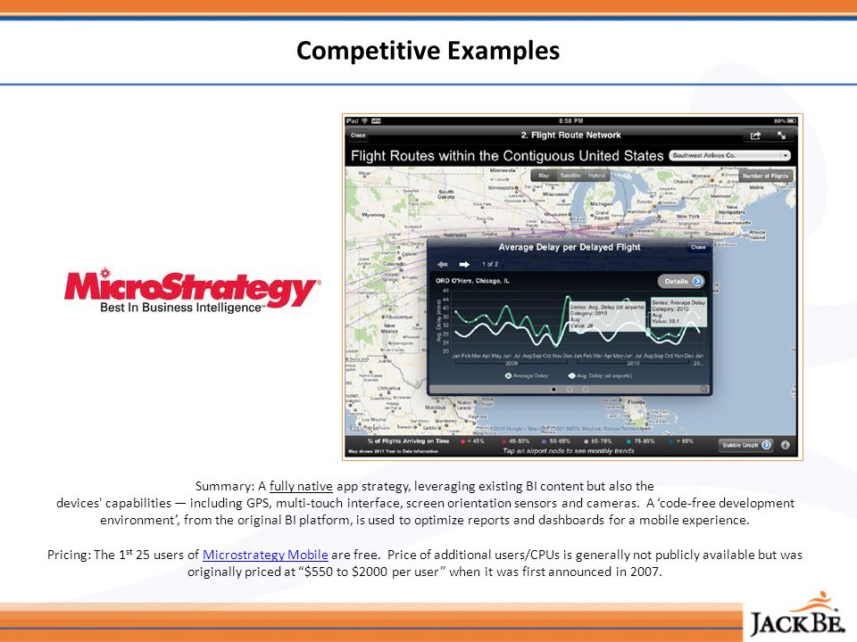 Competitive Examples Summary: A fully native app strategy, leveraging existing BI content but also the devices capabilities including GPS, multi-touch interface, screen orientation sensors and cameras.