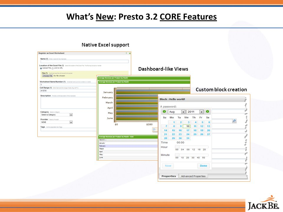 Whats New: Presto 3.2 CORE Features Native Excel support Dashboard-like Views Custom block creation
