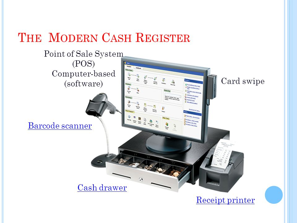 T HE M ODERN C ASH R EGISTER Point of Sale System (POS) Computer-based (software) Barcode scanner Cash drawer Card swipe Receipt printer