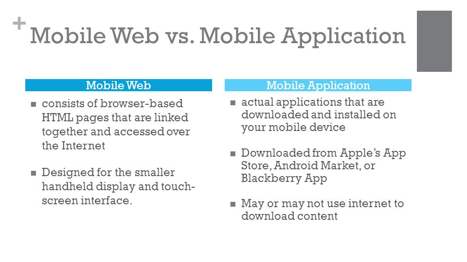 + Mobile Web vs.