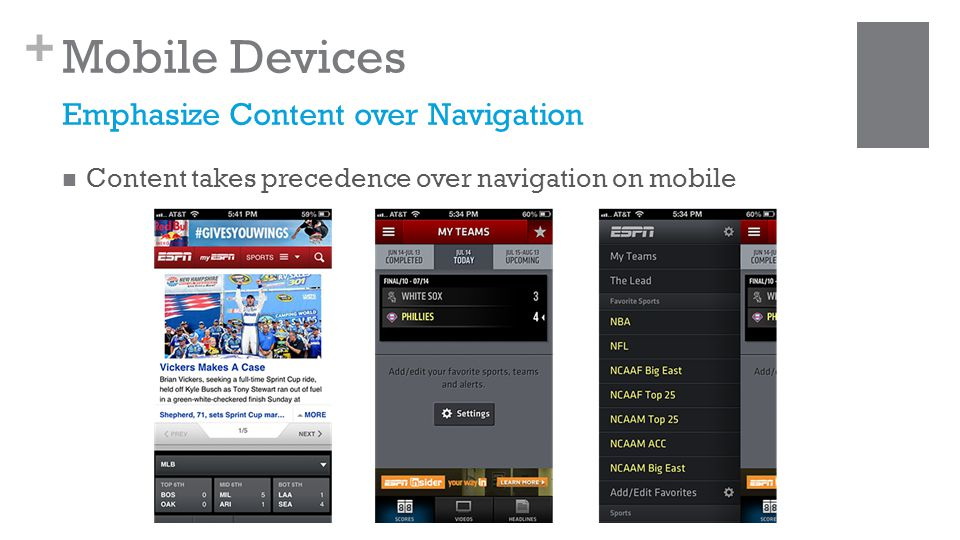 + Mobile Devices Content takes precedence over navigation on mobile Emphasize Content over Navigation