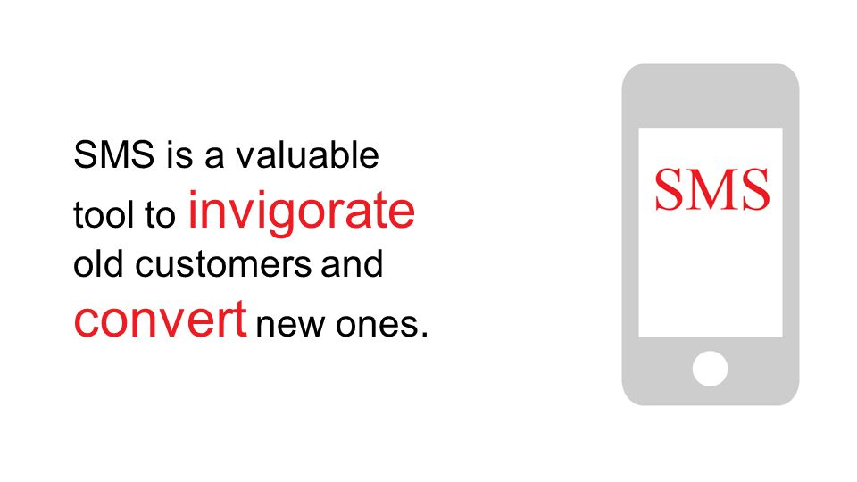 SMS is a valuable tool to invigorate old customers and convert new ones.