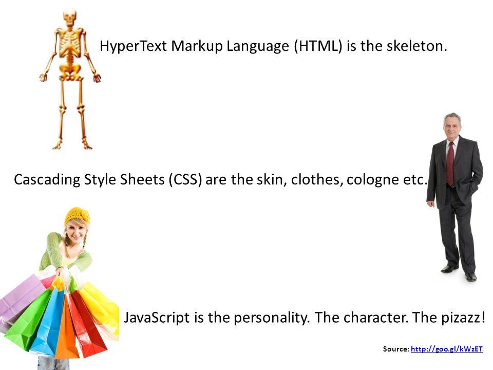 Source: http://goo.gl/kWzEThttp://goo.gl/kWzET HyperText Markup Language (HTML) is the skeleton.