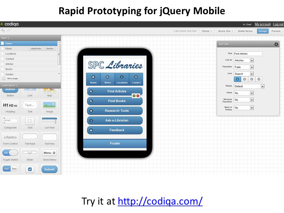 Rapid Prototyping for jQuery Mobile Try it at http://codiqa.com/http://codiqa.com/