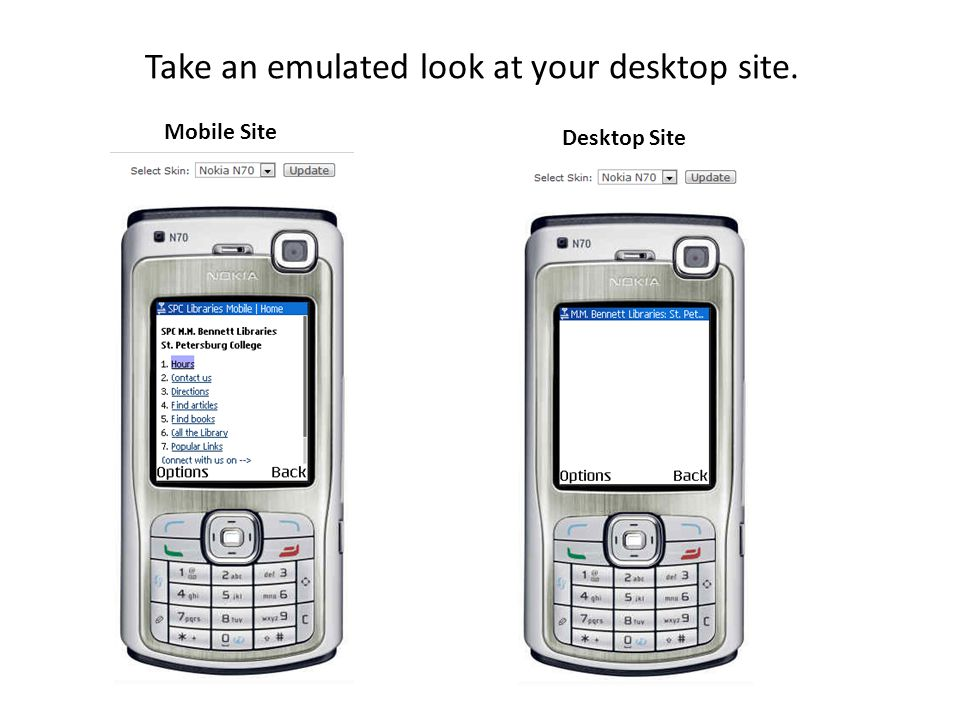 Take an emulated look at your desktop site. Mobile Site Desktop Site