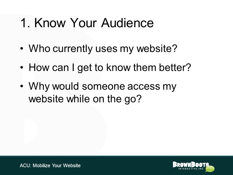 1. Know Your Audience Who currently uses my website.