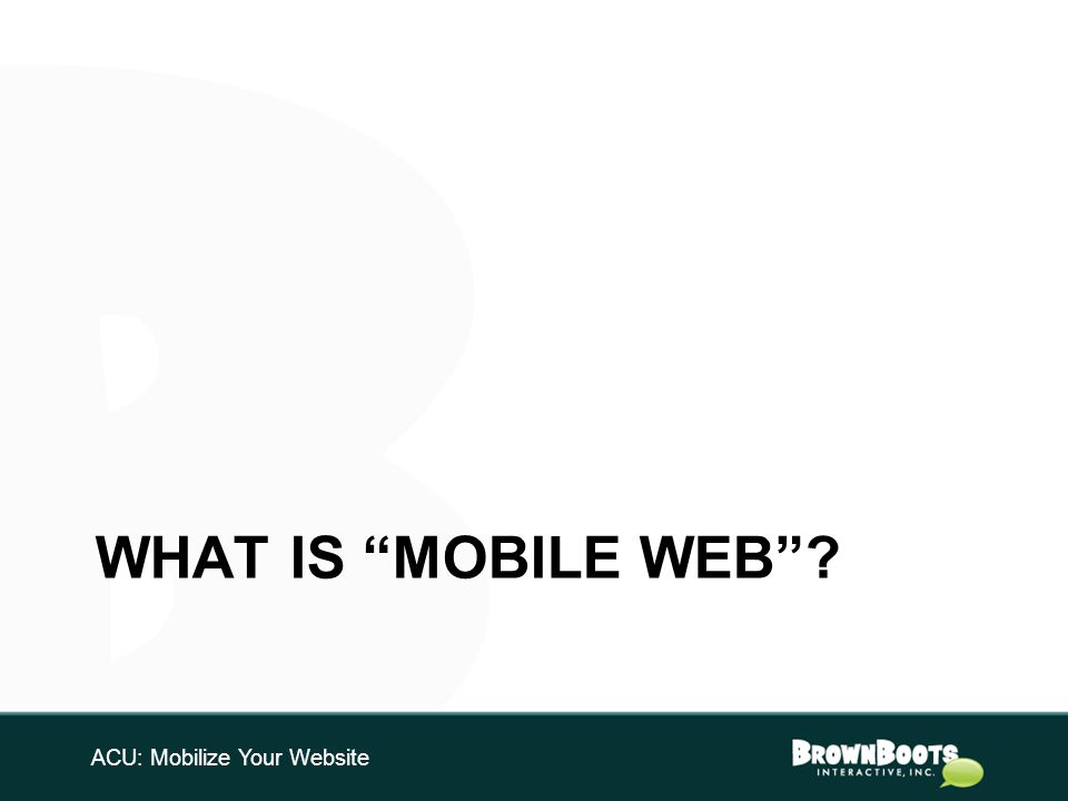 WHAT IS MOBILE WEB ACU: Mobilize Your Website