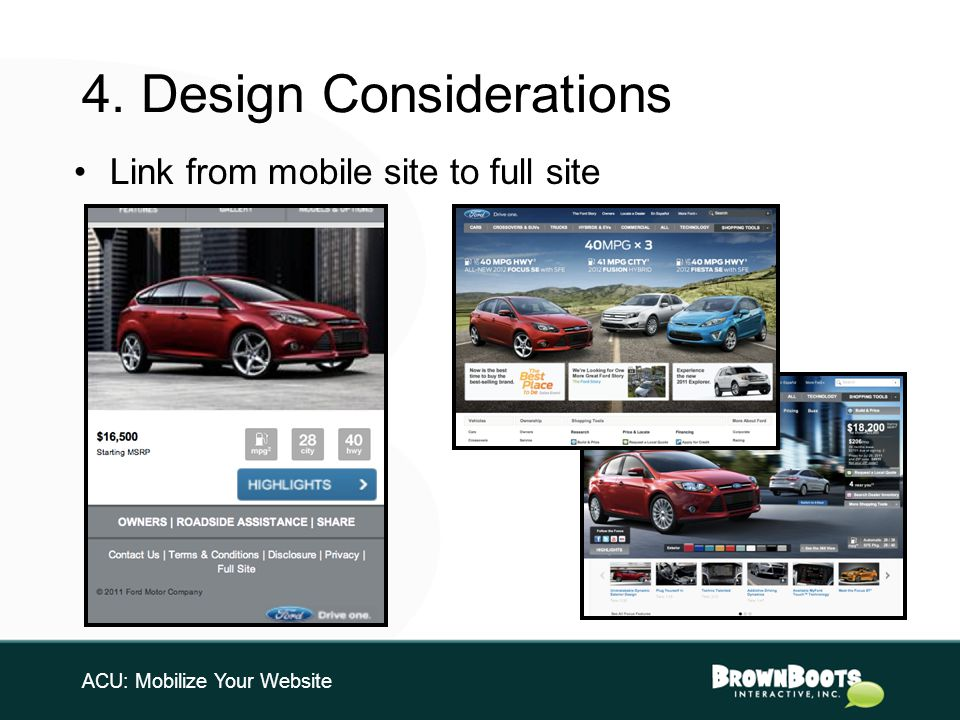 4. Design Considerations ACU: Mobilize Your Website Link from mobile site to full site