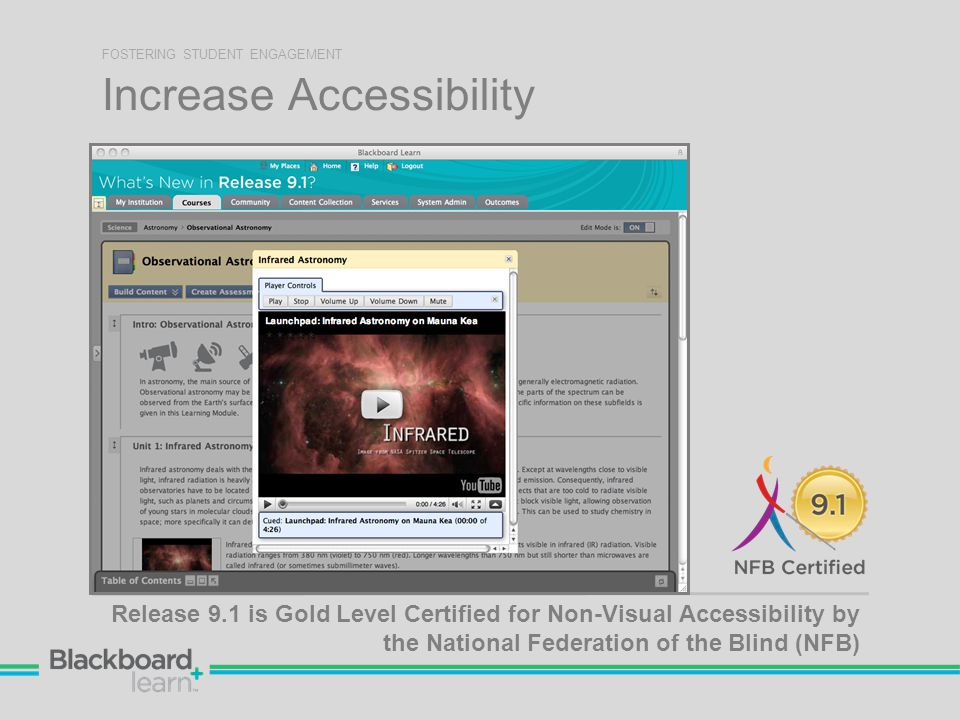 Increase Accessibility FOSTERING STUDENT ENGAGEMENT Release 9.1 is Gold Level Certified for Non-Visual Accessibility by the National Federation of the Blind (NFB)