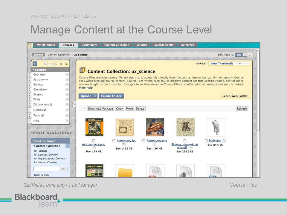 Manage Content at the Course Level SUPPORT EDUCATOR EFFICIENCY Course Files CE/Vista Familiarity- File Manager