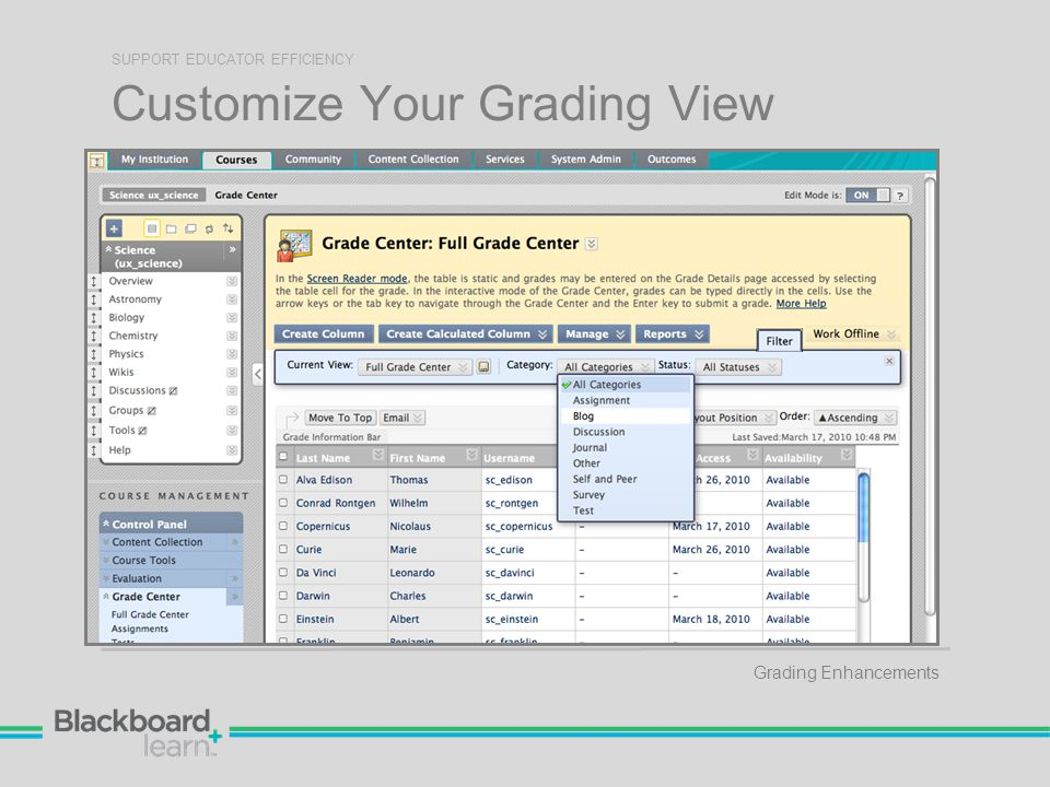 Customize Your Grading View SUPPORT EDUCATOR EFFICIENCY Grading Enhancements