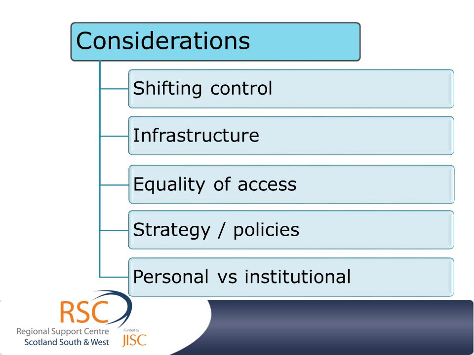 Considerations Shifting controlInfrastructureEquality of accessStrategy / policiesPersonal vs institutional