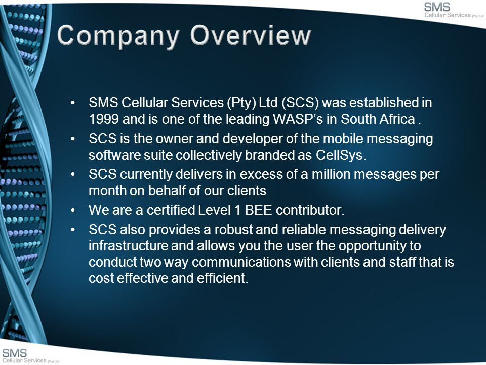 SMS Cellular Services (Pty) Ltd (SCS) was established in 1999 and is one of the leading WASPs in South Africa.