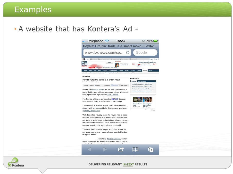 Examples A website that has Konteras Ad -