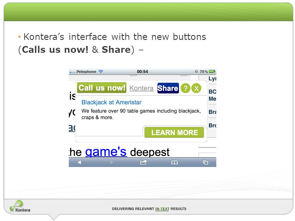 Konteras interface with the new buttons (Calls us now! & Share) –