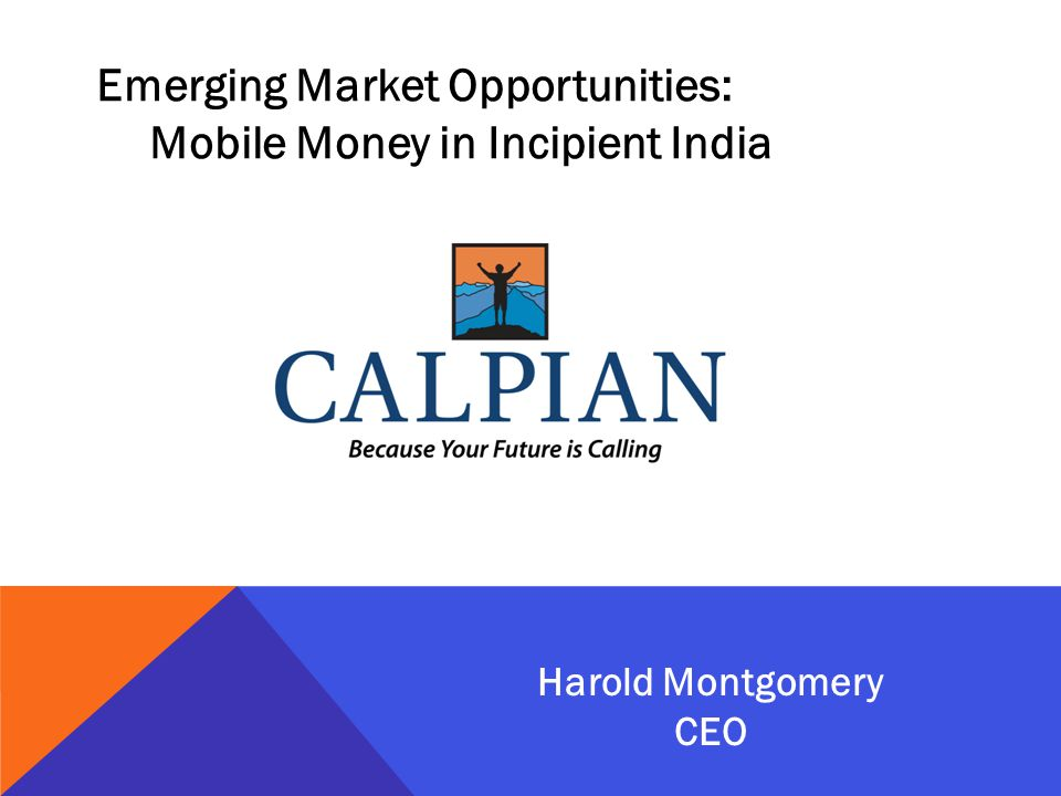 Emerging Market Opportunities: Mobile Money in Incipient India Harold Montgomery CEO