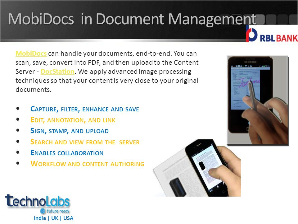India | UK | USA MobiDocs in Document Management MobiDocsMobiDocs can handle your documents, end-to-end.