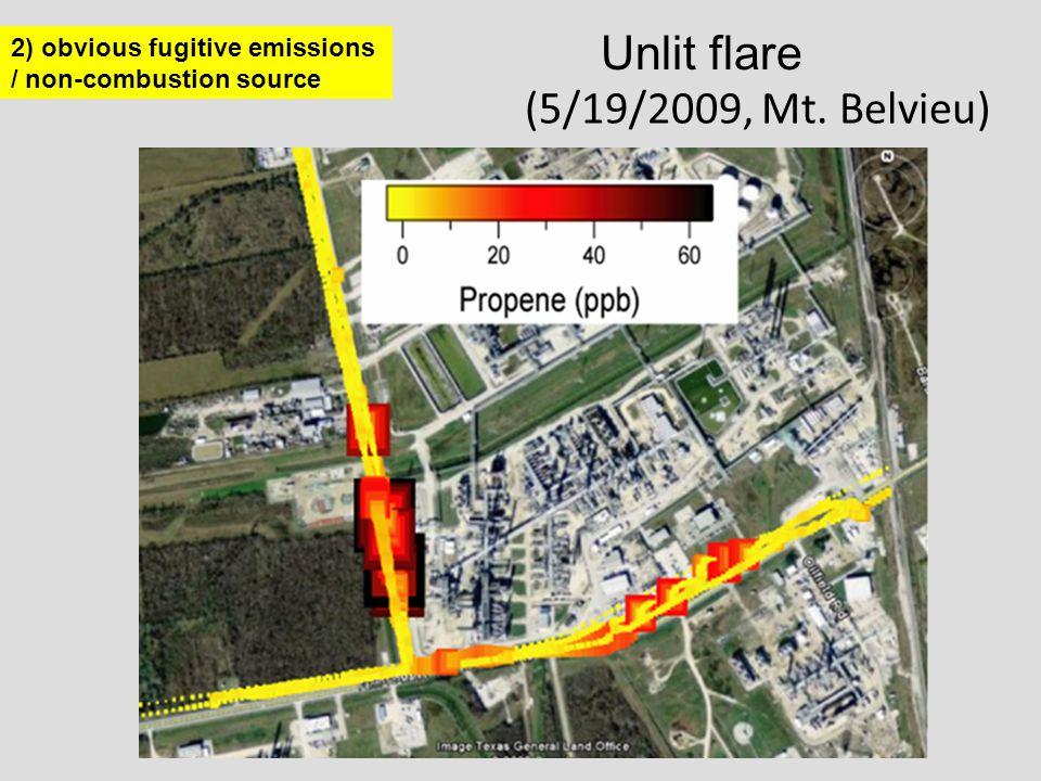 (5/19/2009, Mt. Belvieu) 2) obvious fugitive emissions / non-combustion source Unlit flare
