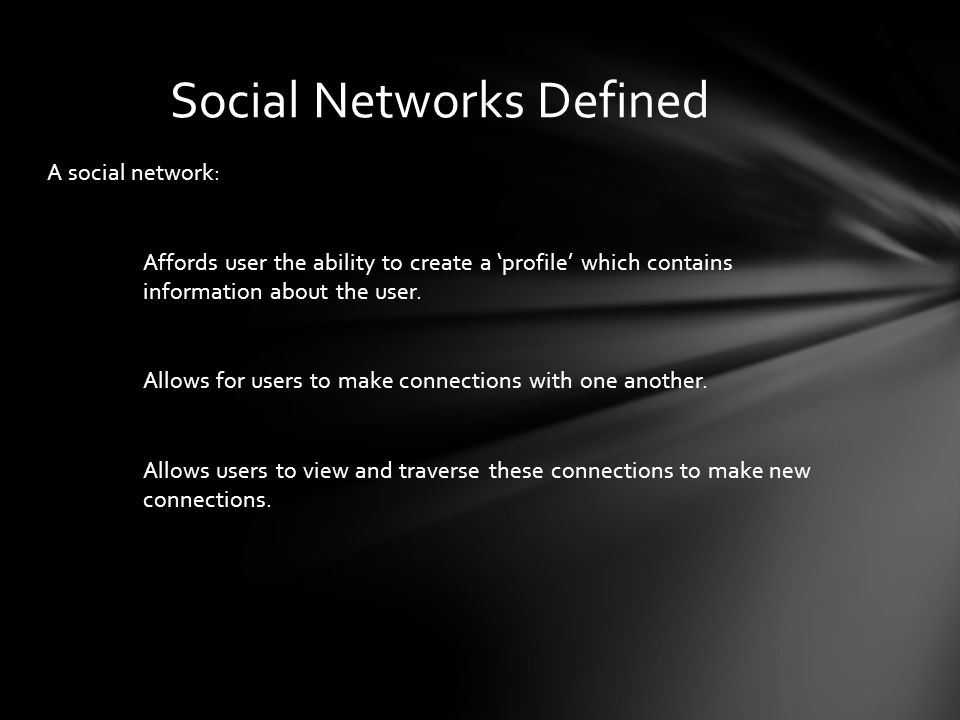 A social network: Affords user the ability to create a profile which contains information about the user.