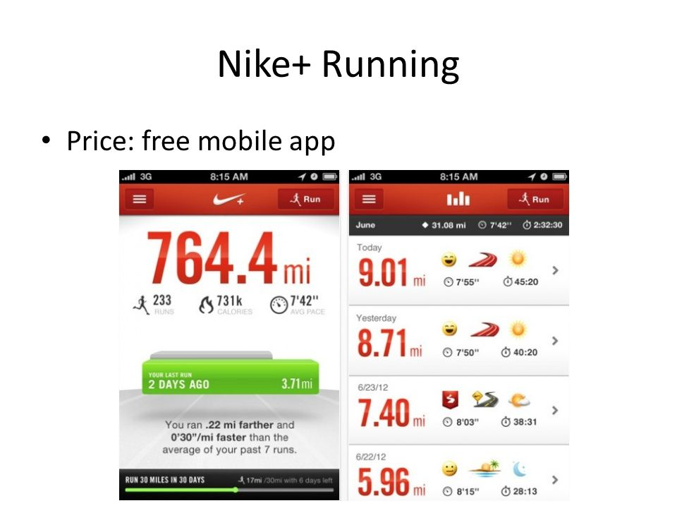 Nike+ Running Price: free mobile app