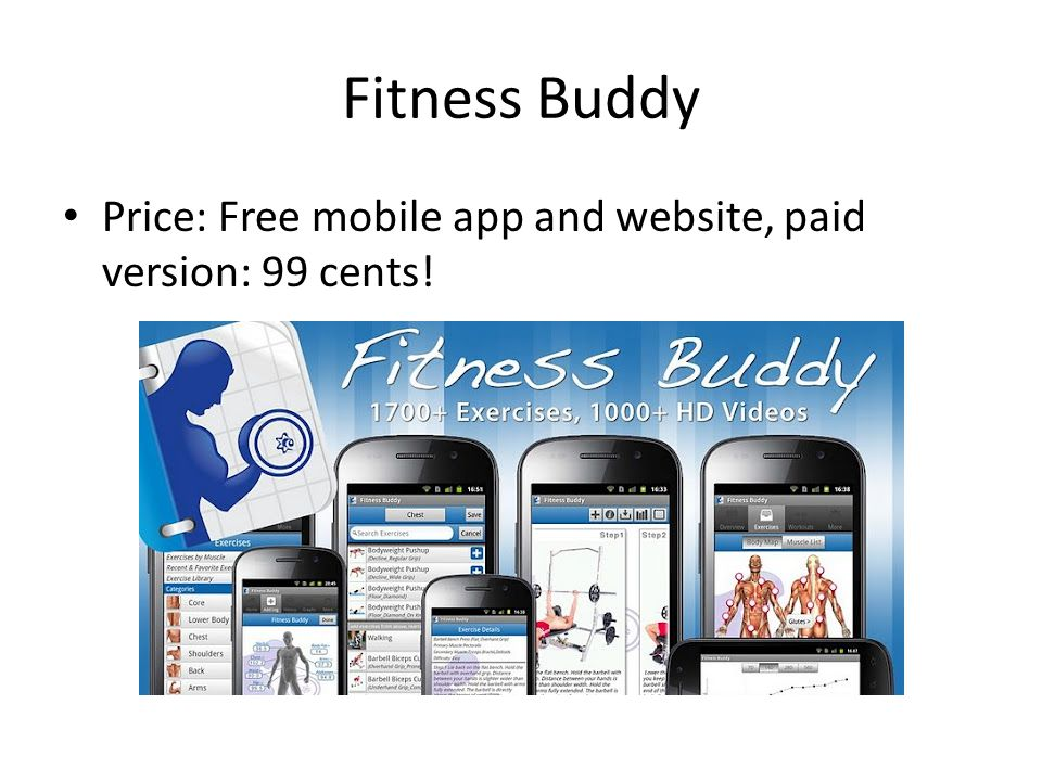Fitness Buddy Price: Free mobile app and website, paid version: 99 cents!