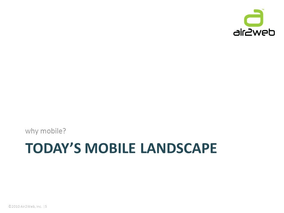 ©2010 Air2Web, Inc. |5 TODAYS MOBILE LANDSCAPE why mobile