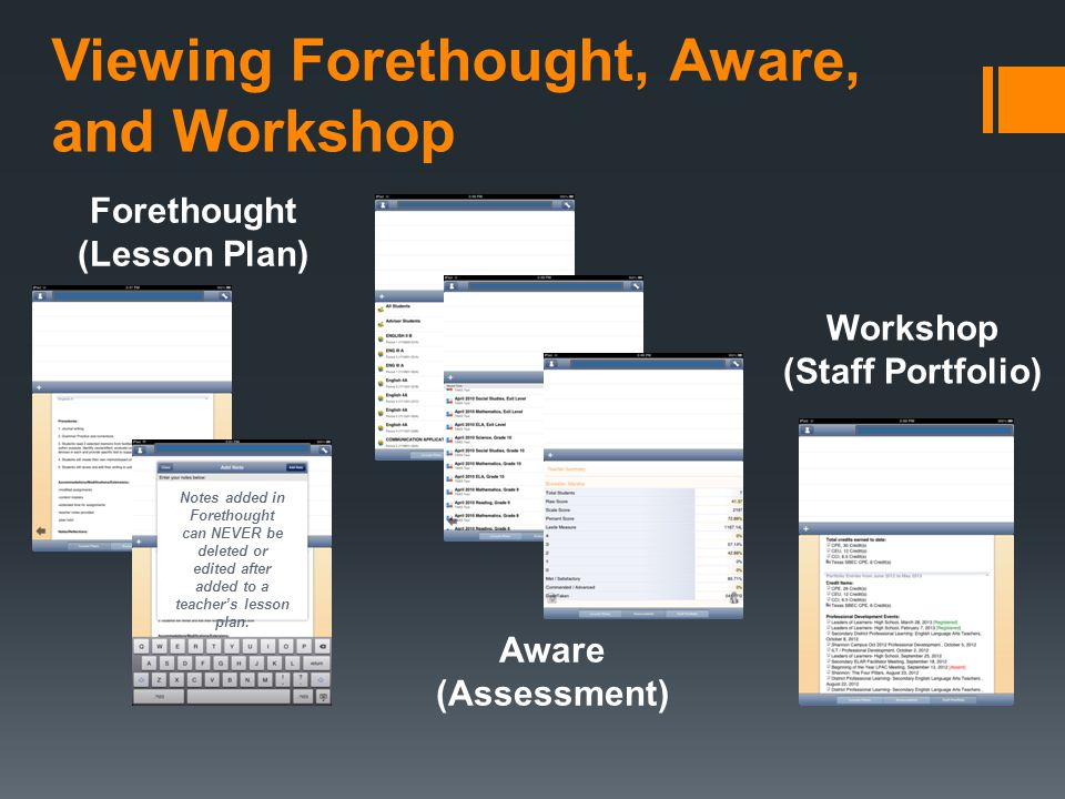 Viewing Forethought, Aware, and Workshop Workshop (Staff Portfolio) Aware (Assessment) Forethought (Lesson Plan) Notes added in Forethought can NEVER be deleted or edited after added to a teachers lesson plan.