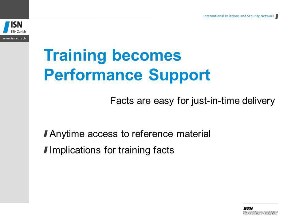 Training becomes Performance Support Facts are easy for just-in-time delivery Anytime access to reference material Implications for training facts