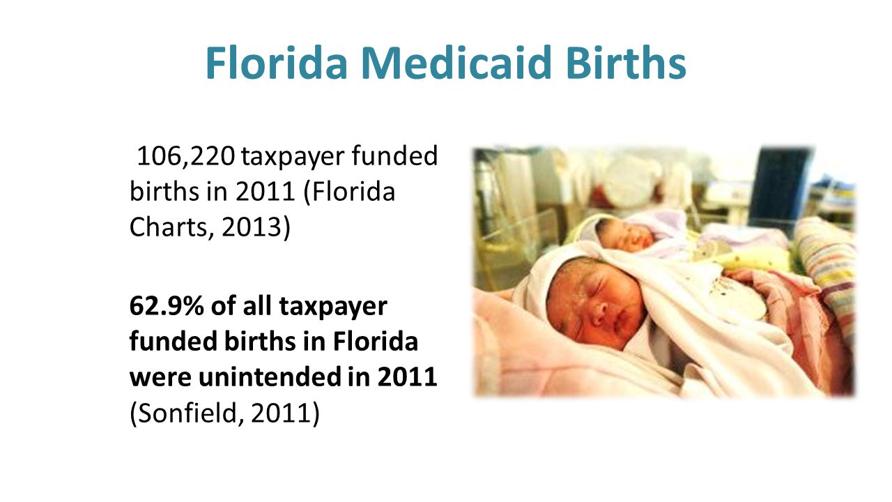 Florida Medicaid Births 106,220 taxpayer funded births in 2011 (Florida Charts, 2013) 62.9% of all taxpayer funded births in Florida were unintended in 2011 (Sonfield, 2011)