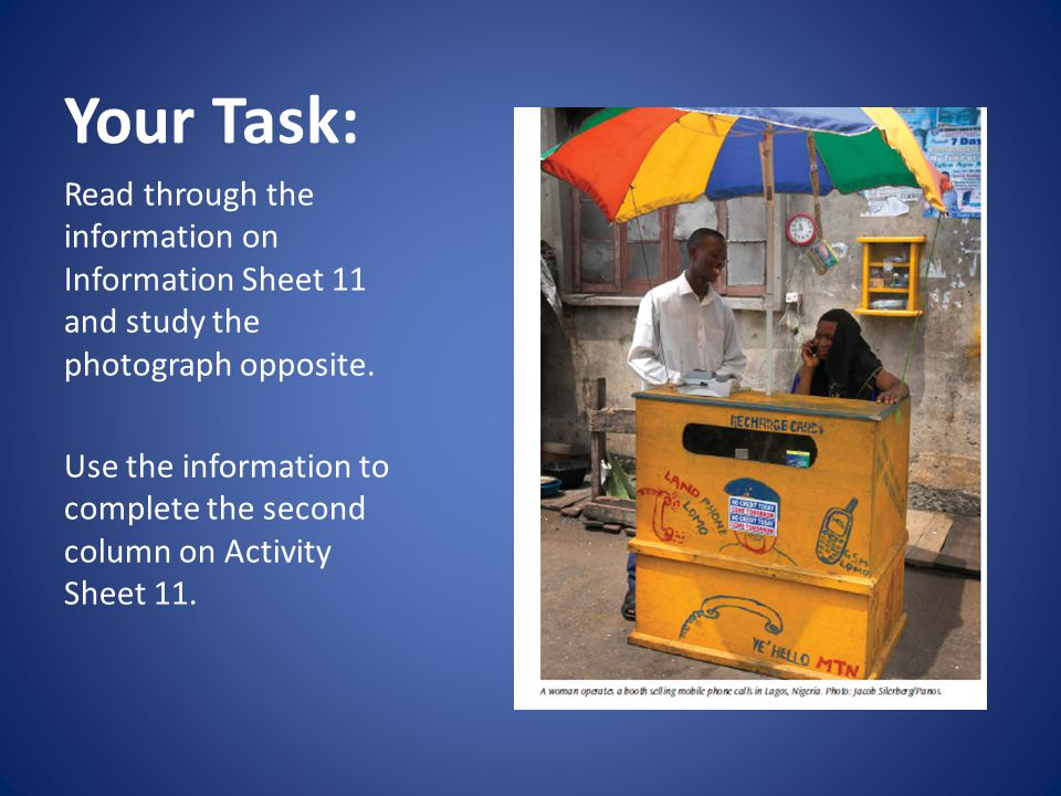 Your Task: Read through the information on Information Sheet 11 and study the photograph opposite.