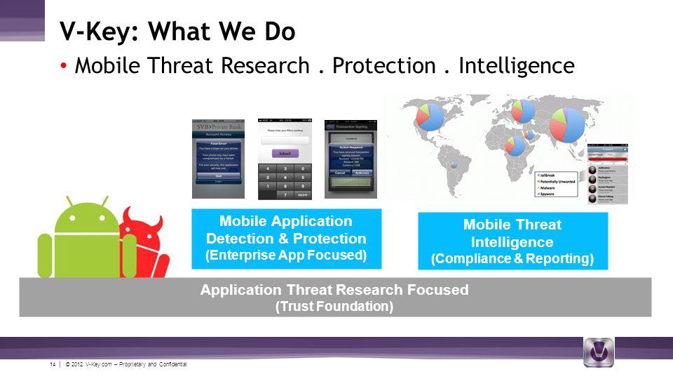 14 | © 2012 V-Key.com – Proprietary and Confidential V-Key: What We Do Mobile Threat Research.
