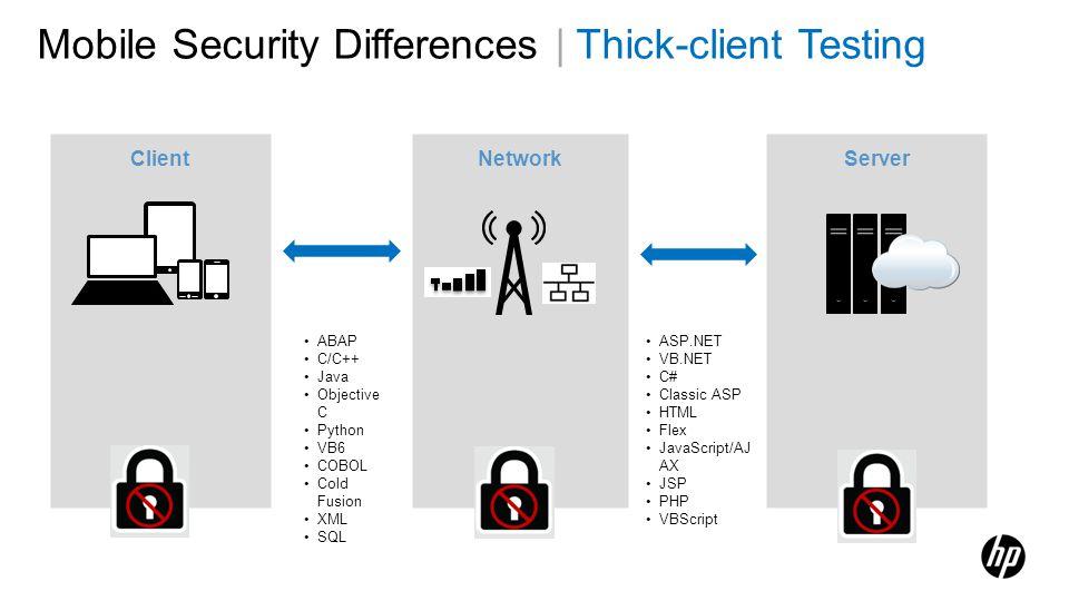 Mobile Security Differences | Thick-client Testing Client Server Network ABAP C/C++ Java Objective C Python VB6 COBOL Cold Fusion XML SQL ASP.NET VB.N