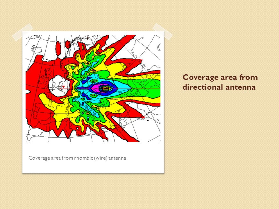 Coverage area from directional antenna Coverage area from rhombic (wire) antenna
