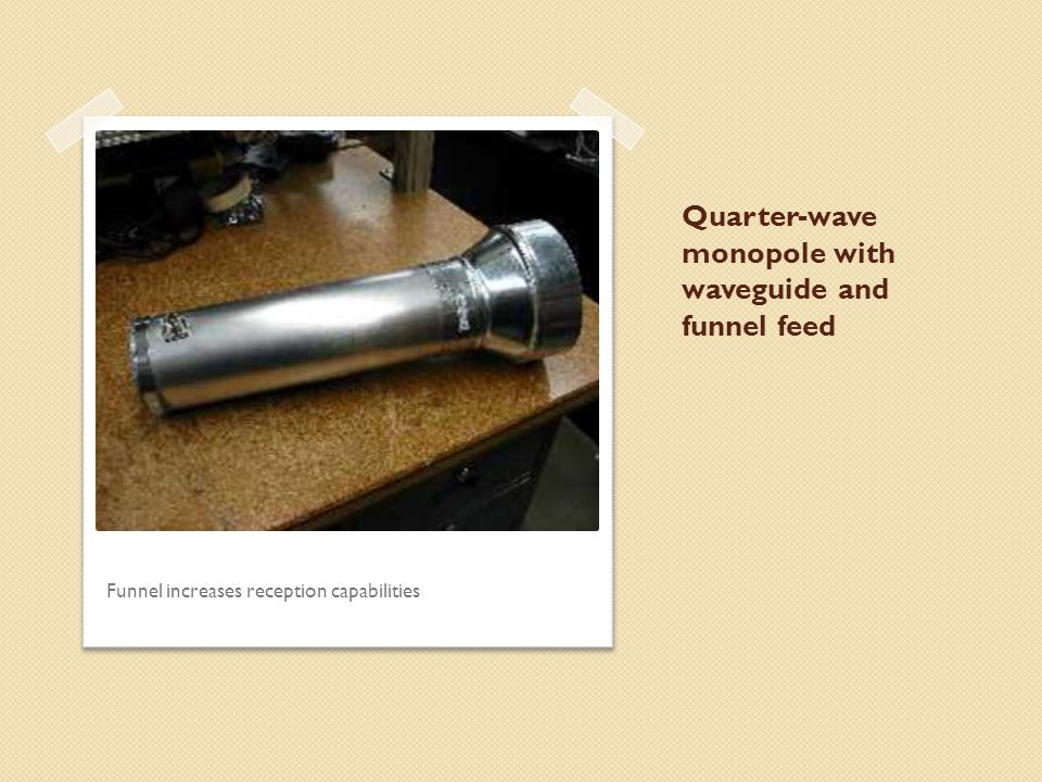 Quarter-wave monopole with waveguide and funnel feed Funnel increases reception capabilities