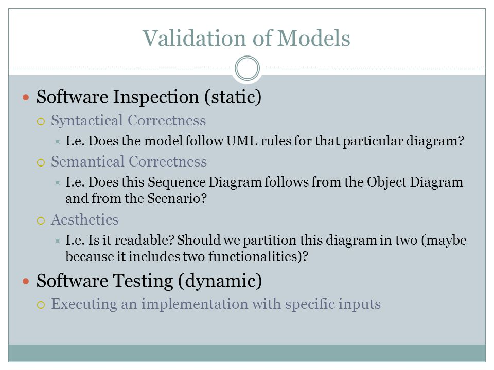 Validation of Models Software Inspection (static) Syntactical Correctness I.e. Does the model follow UML rules for that particular diagram? Semantical