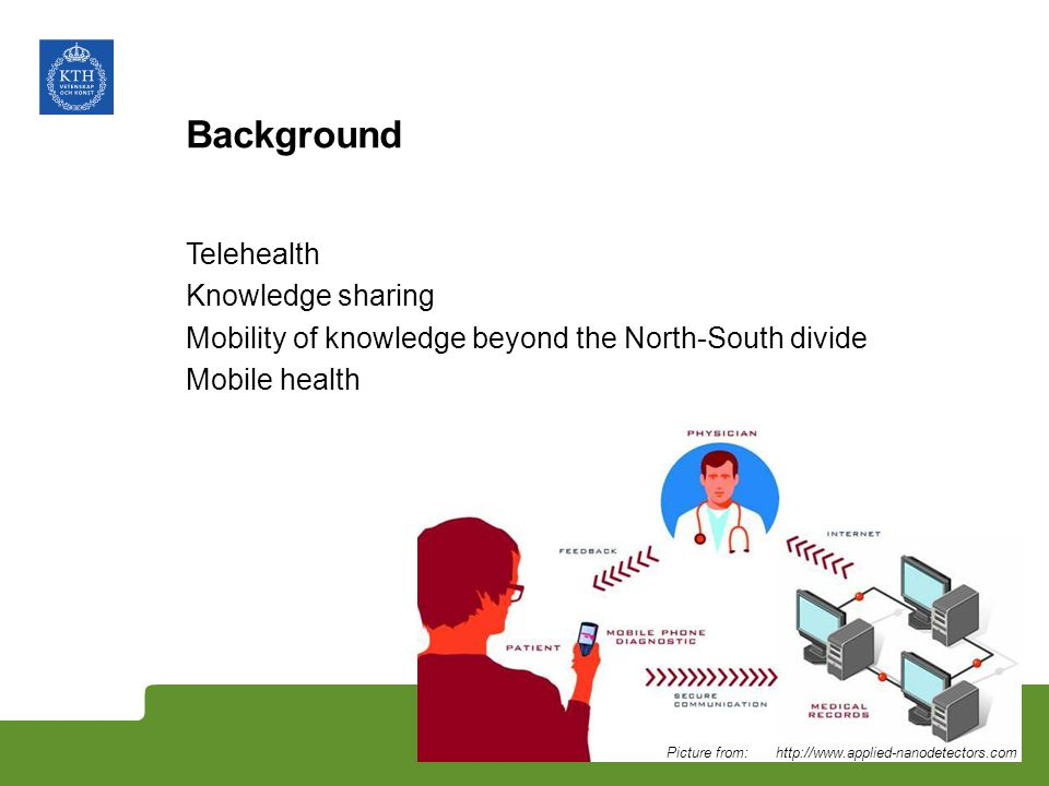 Background Telehealth Knowledge sharing Mobility of knowledge beyond the North-South divide Mobile health Picture from: http://www.applied-nanodetecto