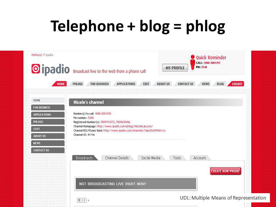 Telephone + blog = phlog UDL: Multiple Means of Representation