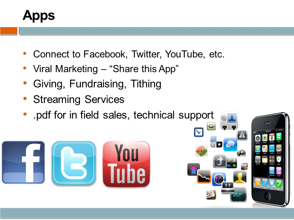 Apps Connect to Facebook, Twitter, YouTube, etc.
