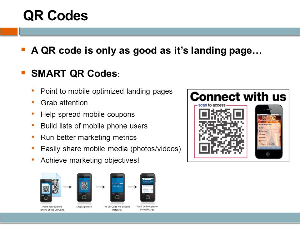 QR Codes A QR code is only as good as its landing page… SMART QR Codes : Point to mobile optimized landing pages Grab attention Help spread mobile coupons Build lists of mobile phone users Run better marketing metrics Easily share mobile media (photos/videos) Achieve marketing objectives!