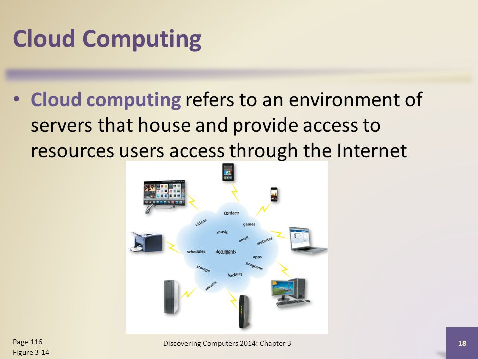 Cloud Computing Cloud computing refers to an environment of servers that house and provide access to resources users access through the Internet 18 Page 116 Figure 3-14 Discovering Computers 2014: Chapter 3