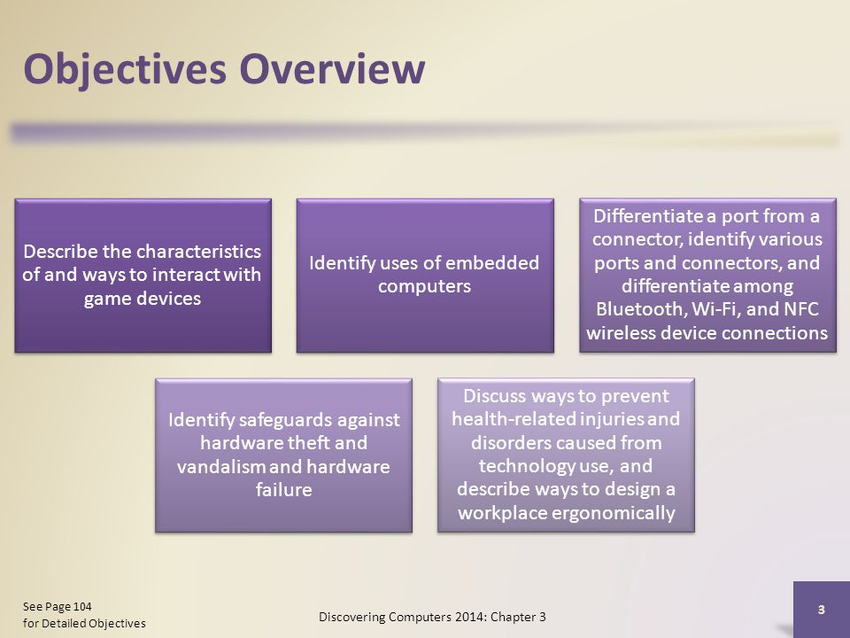 Objectives Overview Describe the characteristics of and ways to interact with game devices Identify uses of embedded computers Differentiate a port from a connector, identify various ports and connectors, and differentiate among Bluetooth, Wi-Fi, and NFC wireless device connections Identify safeguards against hardware theft and vandalism and hardware failure Discuss ways to prevent health-related injuries and disorders caused from technology use, and describe ways to design a workplace ergonomically Discovering Computers 2014: Chapter 3 3 See Page 104 for Detailed Objectives