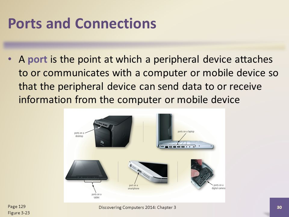 Ports and Connections A port is the point at which a peripheral device attaches to or communicates with a computer or mobile device so that the peripheral device can send data to or receive information from the computer or mobile device 30 Page 129 Figure 3-23 Discovering Computers 2014: Chapter 3