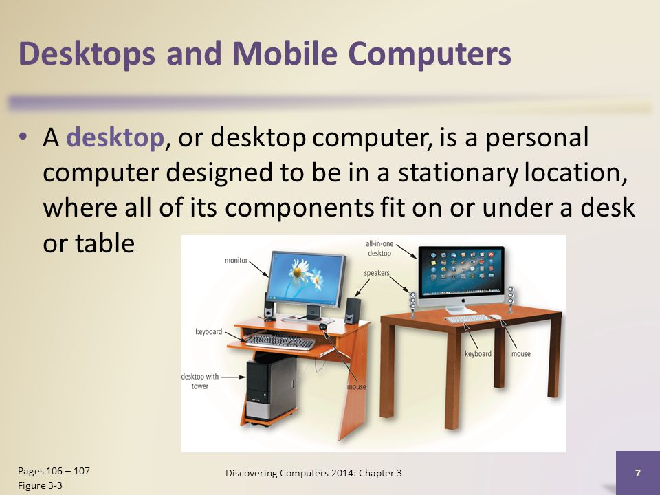 Desktops and Mobile Computers A desktop, or desktop computer, is a personal computer designed to be in a stationary location, where all of its components fit on or under a desk or table 7 Pages 106 – 107 Figure 3-3 Discovering Computers 2014: Chapter 3