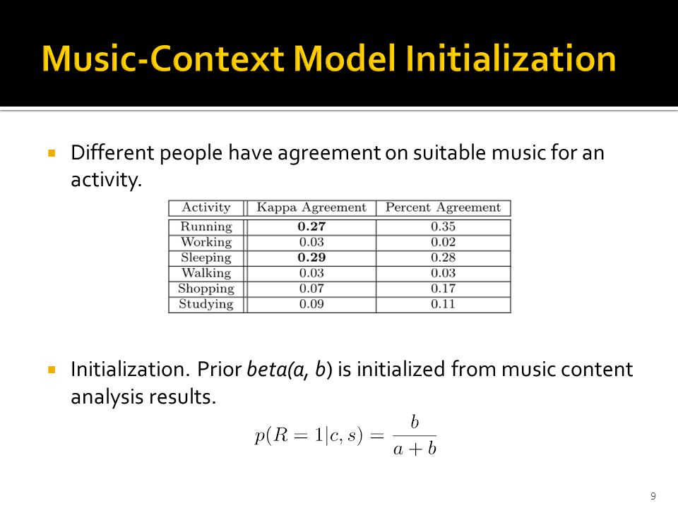 Given the sensor feature f, a song s is scored as: Sensor-Context Model Music-Context Model 8