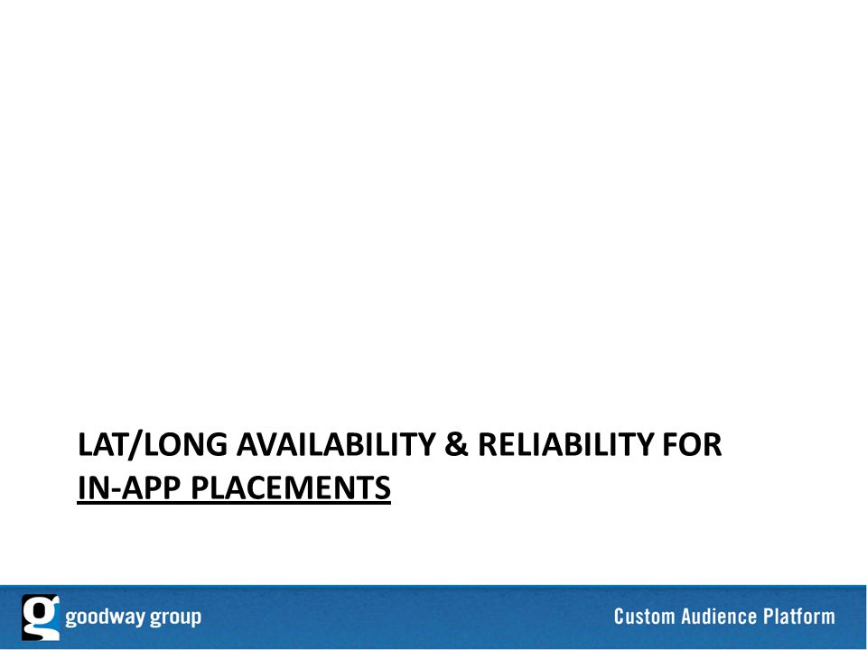 23 LAT/LONG AVAILABILITY & RELIABILITY FOR IN-APP PLACEMENTS