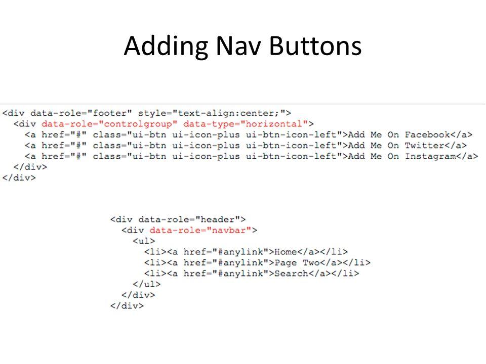 Adding Nav Buttons